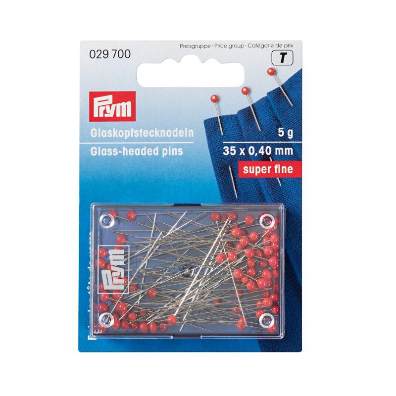 Epingles  tete de verre        0,40x 35mm acier argente col. rouge