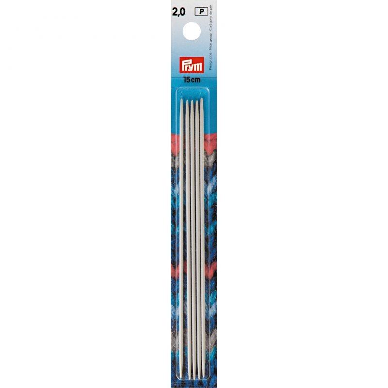 Aiguilles  tricot 2 pointes aluminium gris 15 cm  2,00 mm