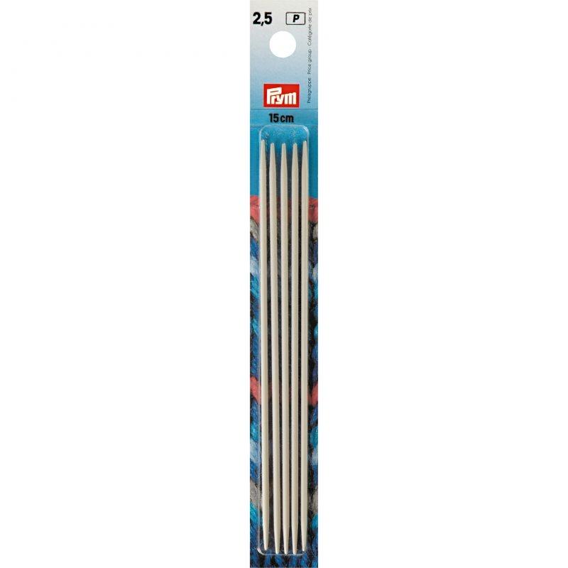 Aiguilles  tricot 2 pointes aluminium gris 15 cm  2,50 mm