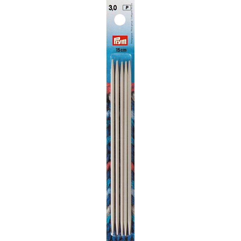 Aiguilles  tricot 2 pointes aluminium gris 15 cm  3,00 mm