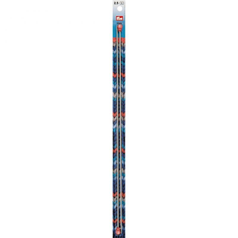 Aiguilles  tricot a boule  aluminium gris 40 cm  2,50 mm