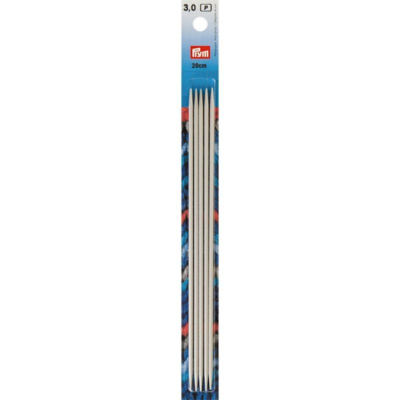 Aiguilles  tricot 2 pointes  aluminium gris 20 cm  3,00 mm
