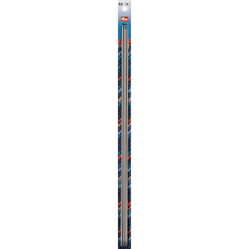 Aiguilles  tricot 2 pointes  aluminium gris 40 cm  2,50 mm