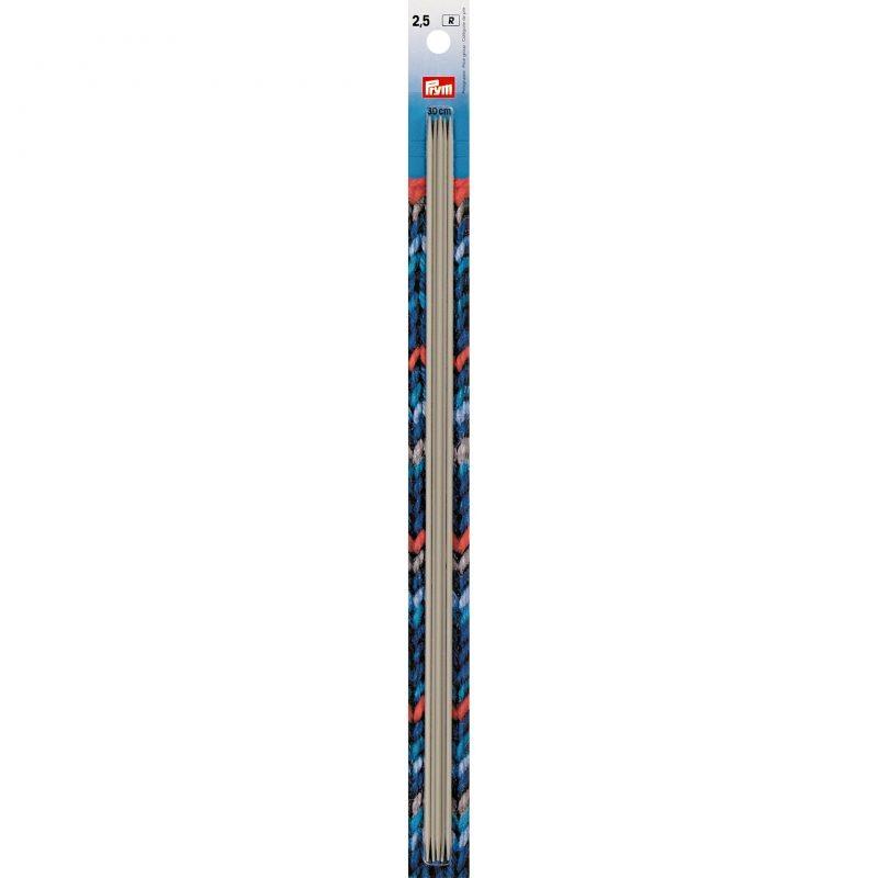Aiguilles  tricot 2 pointes  aluminium gris 30 cm  2,50 mm