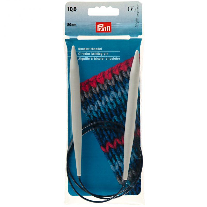 Aiguille  tricot circulaire  plastique gris  80 cm  10,00 mm