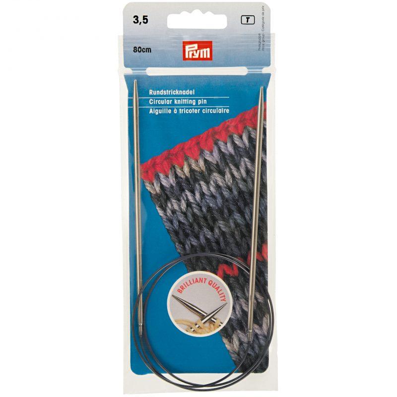 Aiguille  tricot circulaire laiton argent   80 cm 3,50 mm