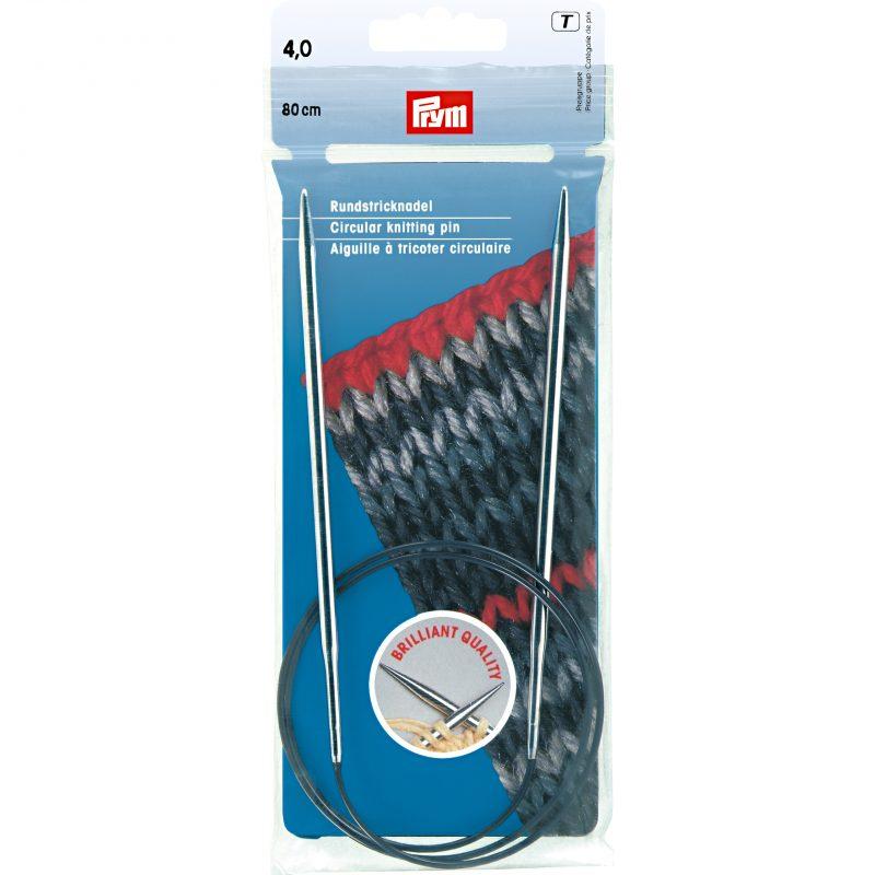 Aiguille  tricot circulaire laiton argent   80 cm 4,00 mm