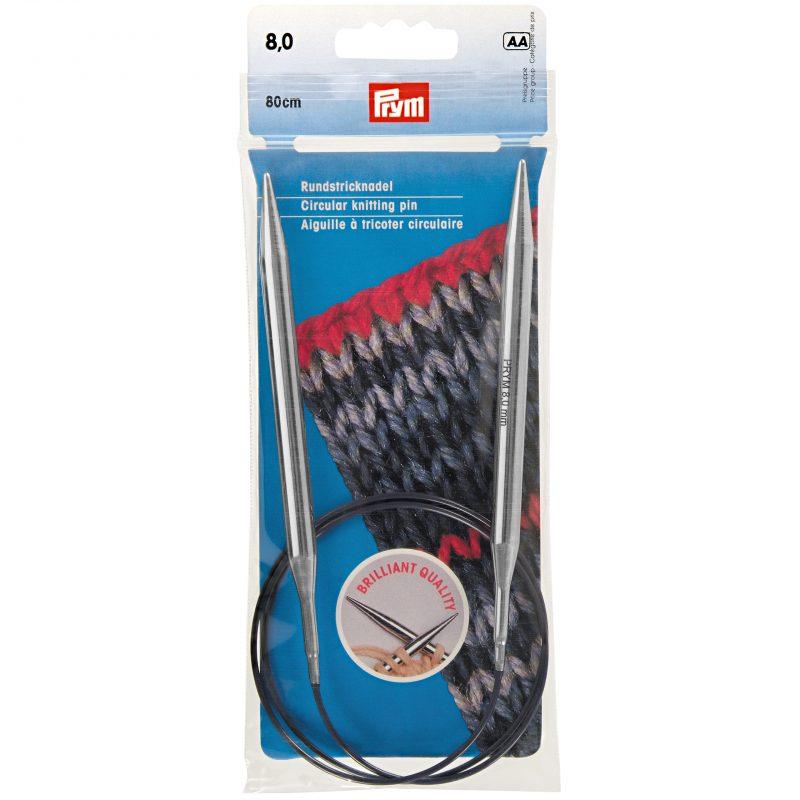 Aiguille  tricot circulaire laiton argent   80 cm  8,00 mm