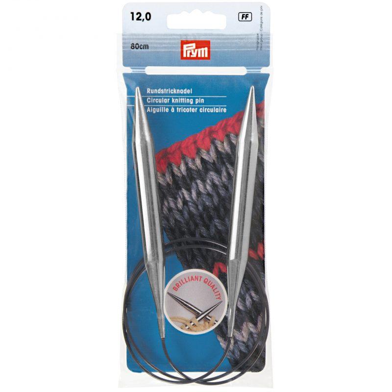 Aiguille  tricot circulaire laiton argent   80 cm 12,00 mm