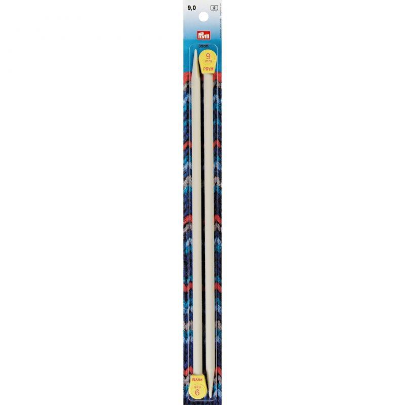 Aiguilles  tricot a boule plastique gris perle  35 cm  9 mm
