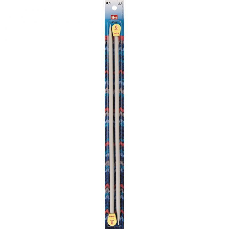 Aiguilles  tricot a boule plastique gris perle 40 cm  8 mm