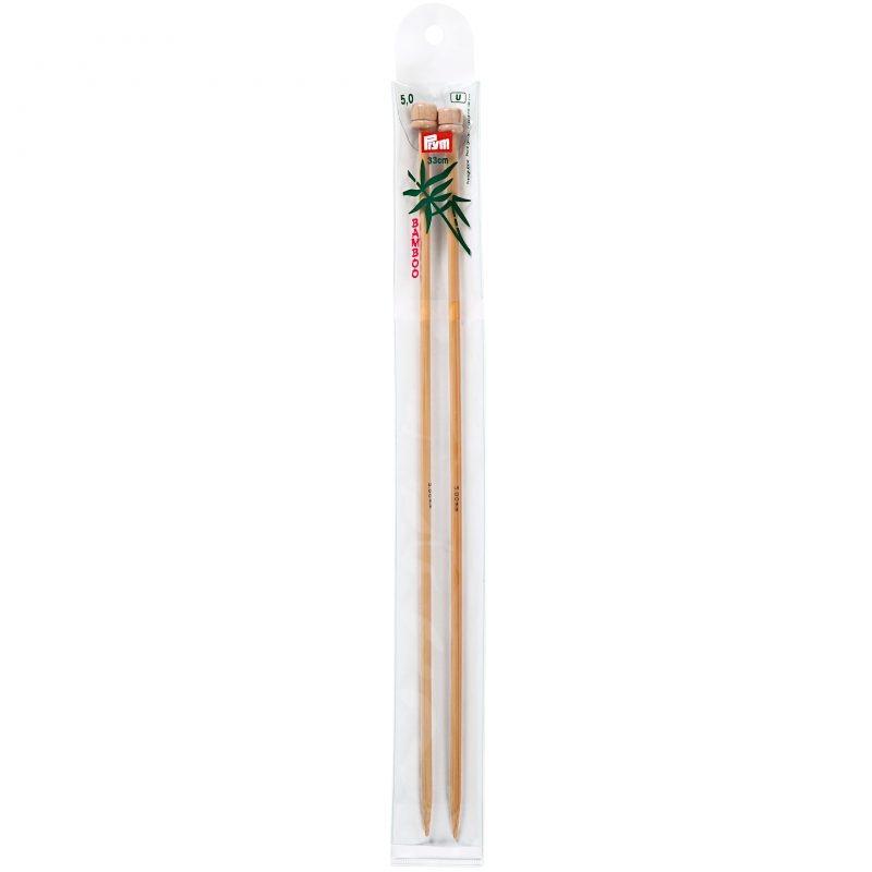 Aiguilles  tricot a boule bambou  33 cm  5,00 mm