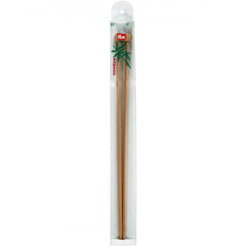 Aiguilles  tricot a boule bambou  33 cm  5,50 mm