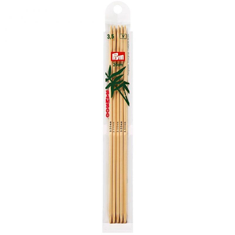 Aiguilles  tricot bambou 2 pointes 20 cm  3,50 mm