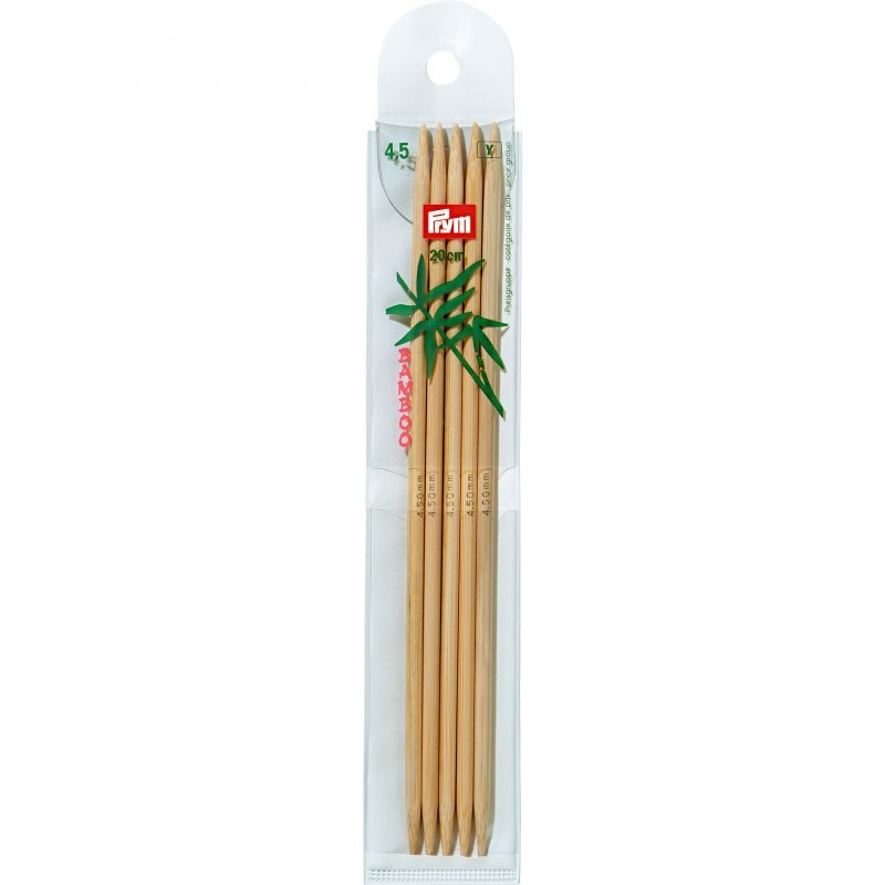 Aiguilles  tricot bambou 2 pointes 20 cm  4,50 mm
