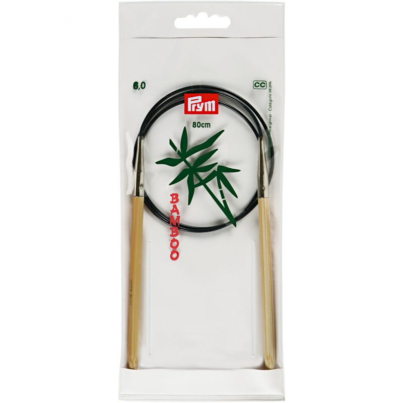 Aiguille  tricot circulaire bambou 80 cm  6,00 mm