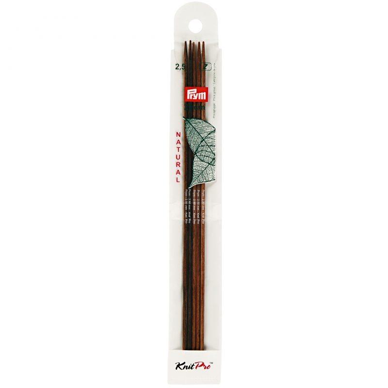 Aiguilles  tricot bois natural 2 pointes 20 cm 2,50 mm
