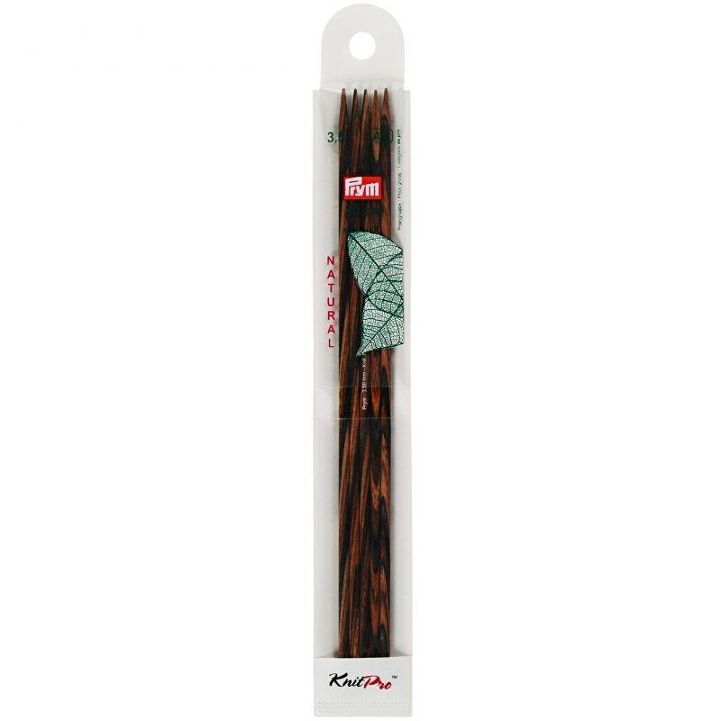 Aiguilles  tricot bois natural 2 pointes 20 cm 3,50 mm