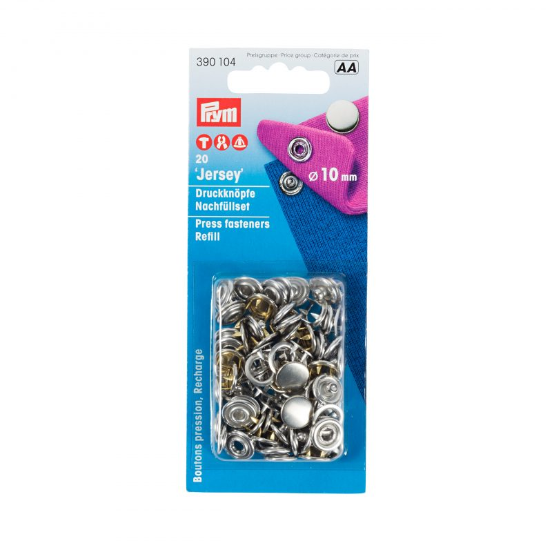 Boutons  pression jersey 10 mm calotte laiton arg. recharge