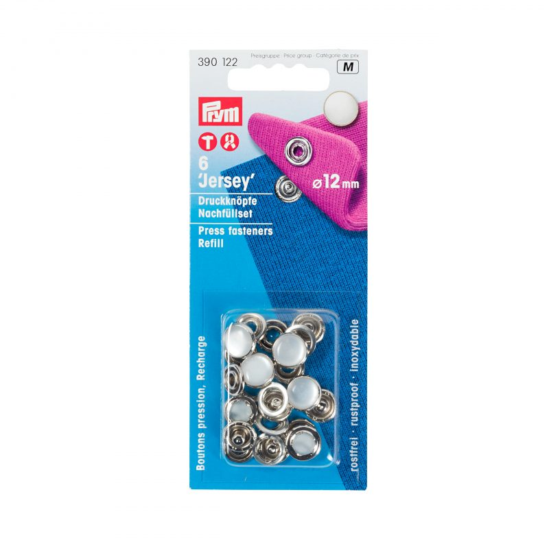 Boutons  pression jersey 12 mm  calotte blanc nacre recharge