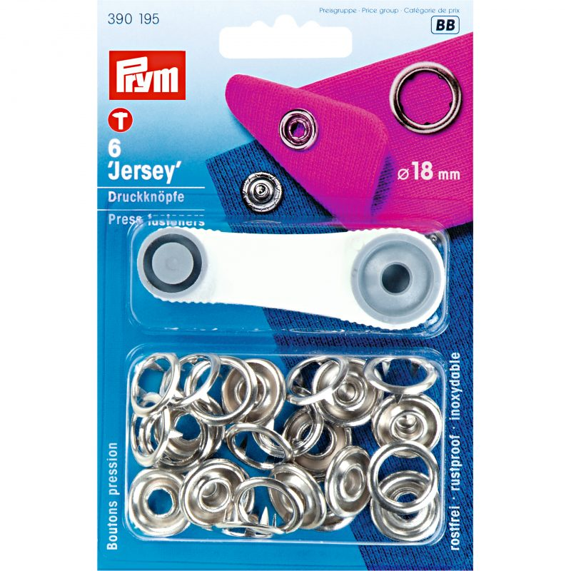 Boutons  pression jersey 18 mm laiton argente