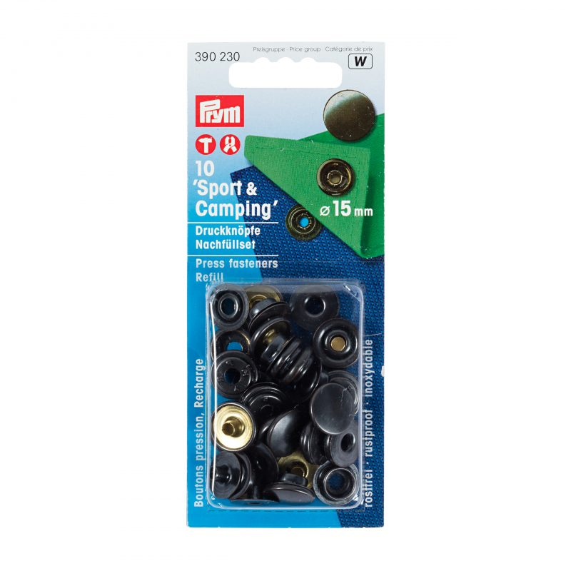 Boutons  pression sport&camping 15 mm  laiton bruni rech.