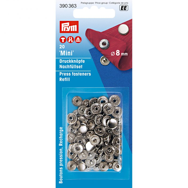 Boutons  pression  mini  8 mm   laiton argente recharge