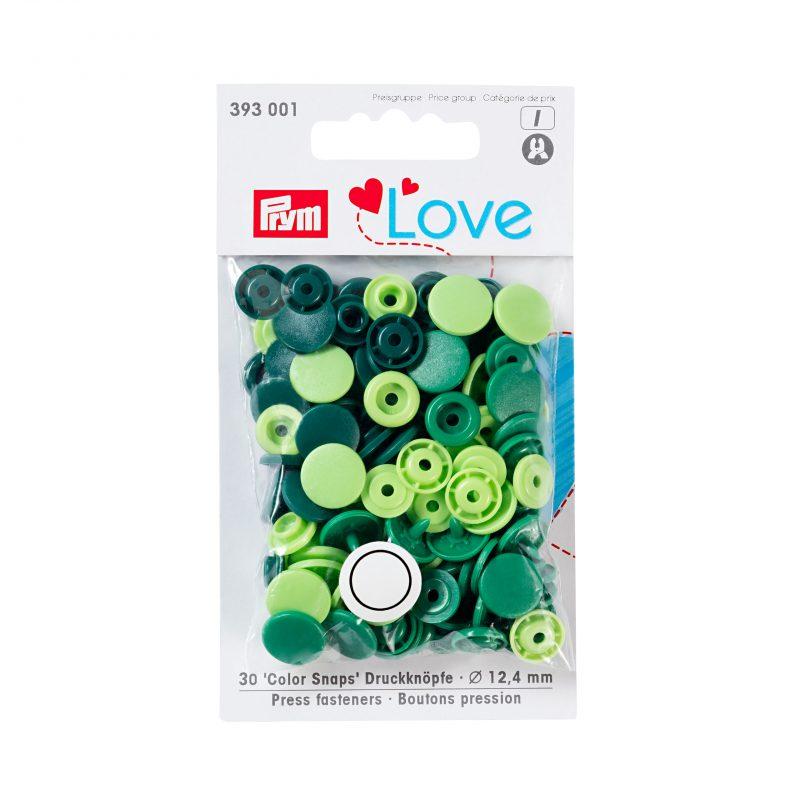 Prym love boutons pression plastique vert 12 mm