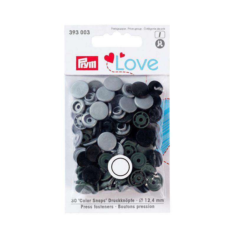 Prym love boutons pression plastique gris 12 mm