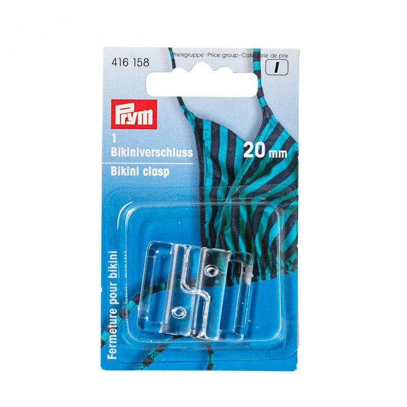 Fermeture  pour bikini 20 mm plastique transparent