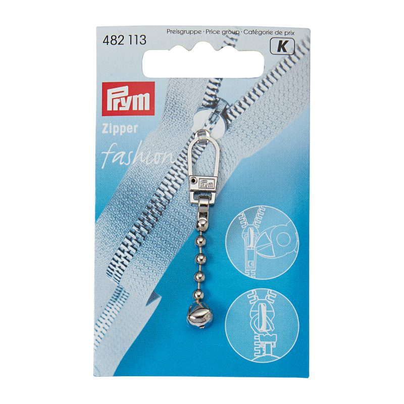 Tirette  fashion - zipper chaine-boule metal argente