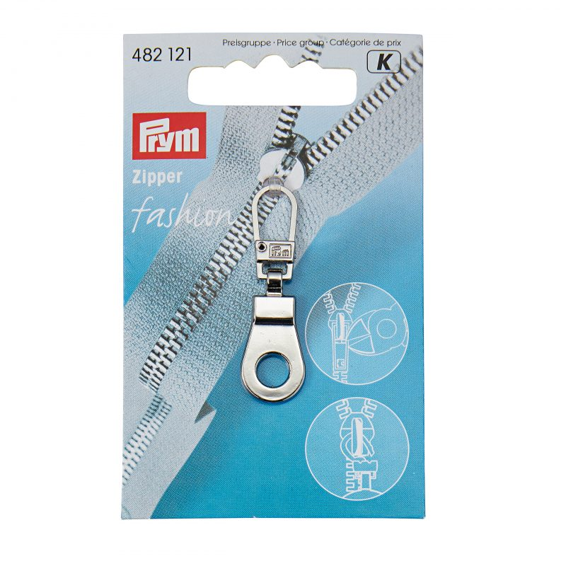 Tirette  fashion - zipper  oeillet  metal argente