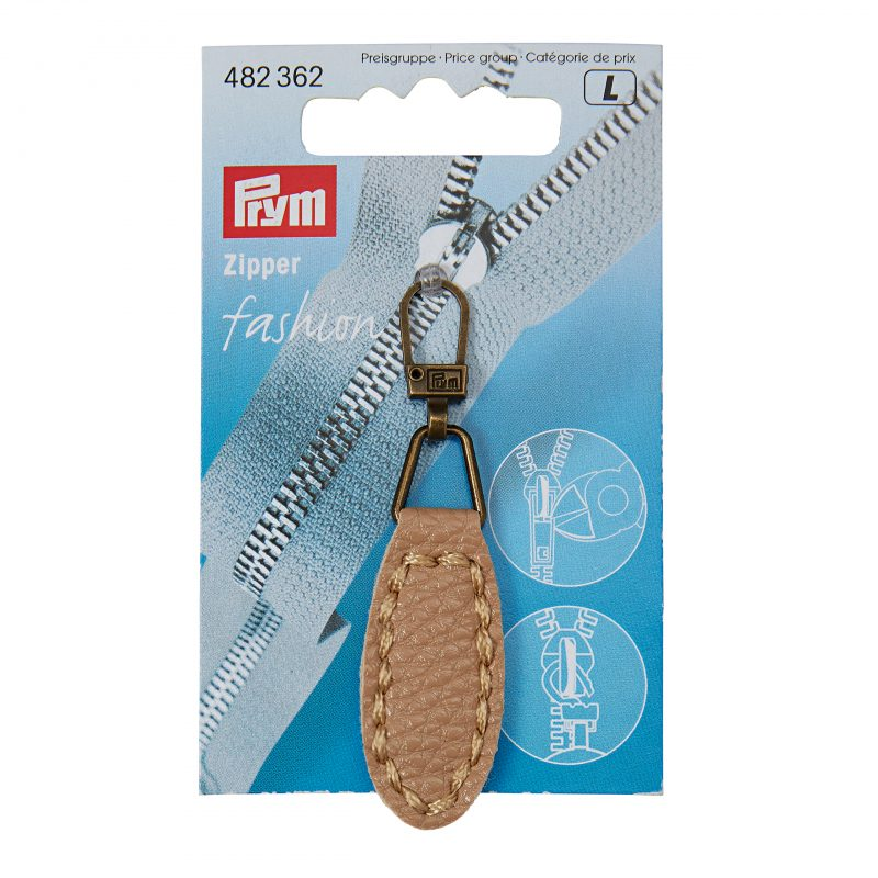 Tirette fashion - zipper imitation cuir ovale beige
